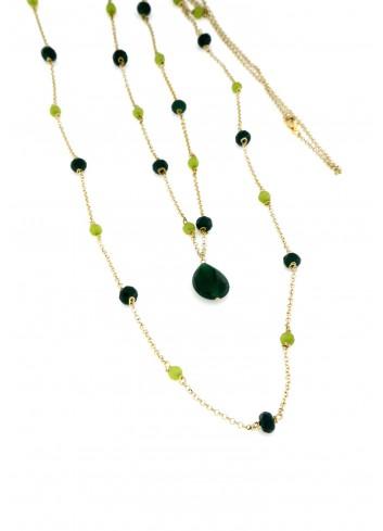 Collana lunga I Colori verde in argento 925 e pietre naturali
