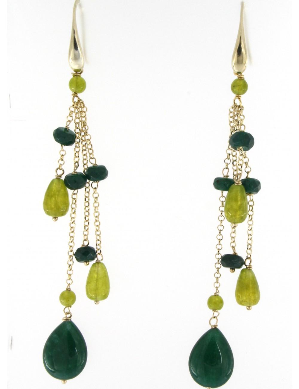 Orecchini lunghi Linea I Colori verdi in argento 925 e pietre naturali