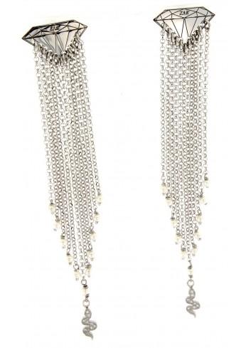 Orecchini lunghi Linea Le Tentazioni in argento 925 con perline e serpentino con zirconi