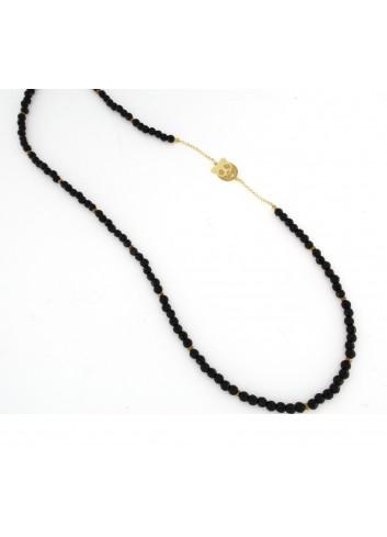 Collana lunga Linea Panda in argento 925 con onice