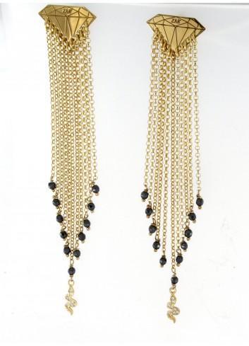 Orecchini lunghi Linea Le Tentazioni in argento 925 con ematite e serpentino con zirconi