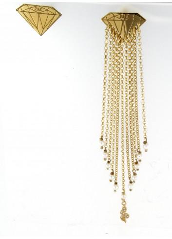 Orecchini asimmetrici Linea Le Tentazioni in argento 925 con perline e serpentino con zirconi
