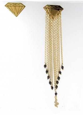 Orecchini asimmetrici Linea Le Tentazioni in argento 925 con ematite e serpentino con zirconi