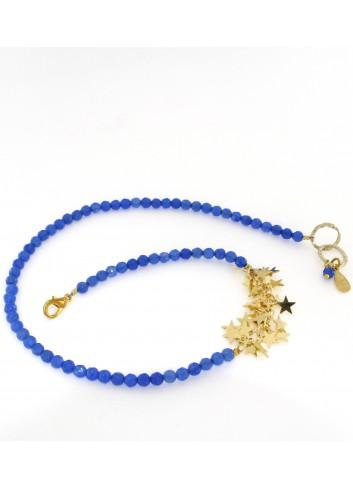 Bracciale Linea Le Stelle in ottone con agata blu