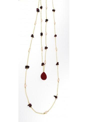 Collana lunga I Colori bordeaux in argento 925 e pietre naturali