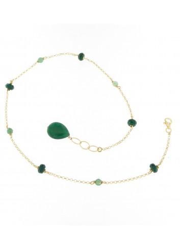 Bracciale Linea I Colori verde in argento 925 con pietre naturali