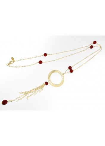 Collana lunga Linea Zarina Chic in ottone con ciondolo piccolo e frange