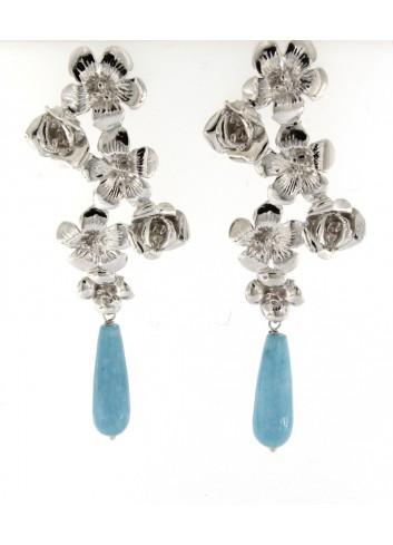 orecchini Linea I Fiori in argento 925 con angelite azzurra