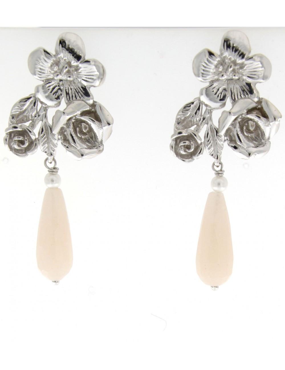 orecchini Linea I Fiori in argento 925 con quarzo rosa