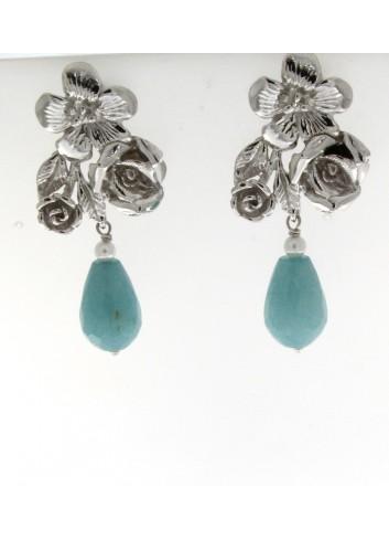 orecchini Linea I Fiori in argento 925 con giada turchese
