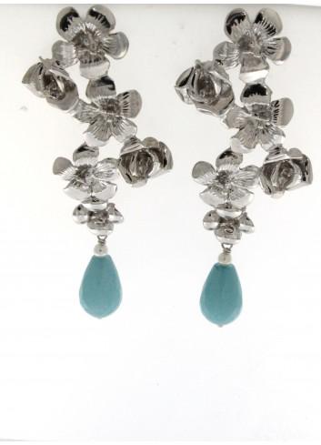 orecchini lunghi Linea I Fiori in argento 925 con giada turchese