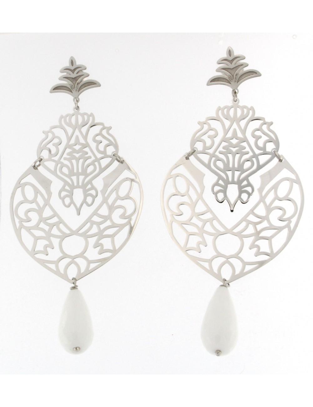 orecchini Linea Marrakech in argento 925 con goccia in agata bianca